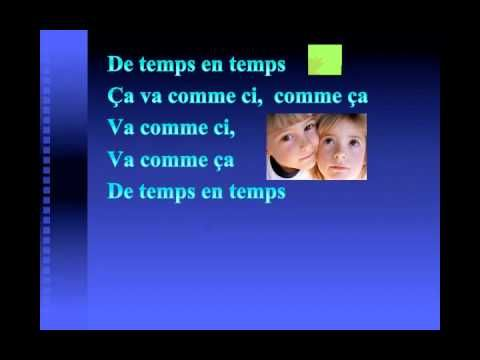 """""""Comment ca va?"""" by Alexandre (?)--very catchy song introducing """"How are you?"""" and possible responses and explanations (""""Quand je ris tu sais que ca va bien"""").  Unlike a lot of his other high-energy songs, this one is lyrical and a little slower.  The very simple video illustrates the concepts; the lyrics are displayed onscreen.  (When I say """"catchy,"""" I mean it--my five-year-old is singing it after hearing it twice.  But the chorus with its """"la la la""""s is too long for my taste.)"""