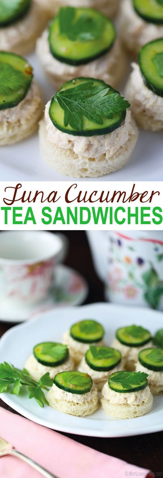 Tuna Cucumber Tea Sandwiches (mini bread rounds with tuna salad and cucumbers) are part of a sponsored post written by me on behalf of @BumbleBeeSeafoods AD OnlyAlbacore