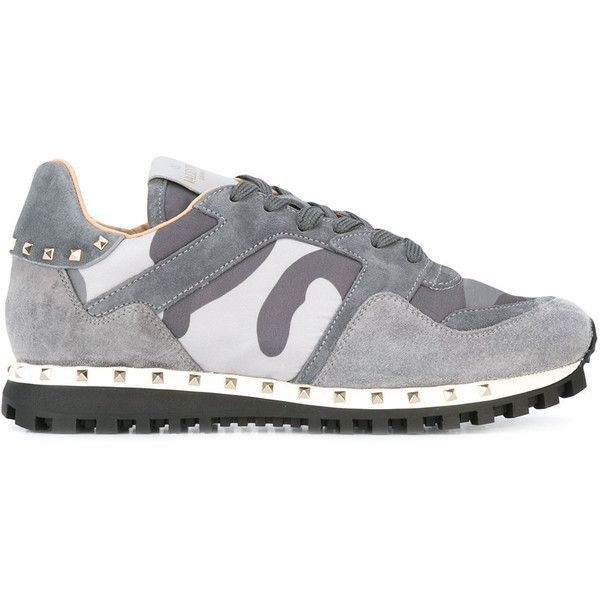 Valentino Garavani Camouflage Rockstud Sneakers ($620) ❤ liked on Polyvore featuring shoes, sneakers, grey, camouflage footwear, grey shoes, valentino sneakers, grey sneakers and gray sneakers