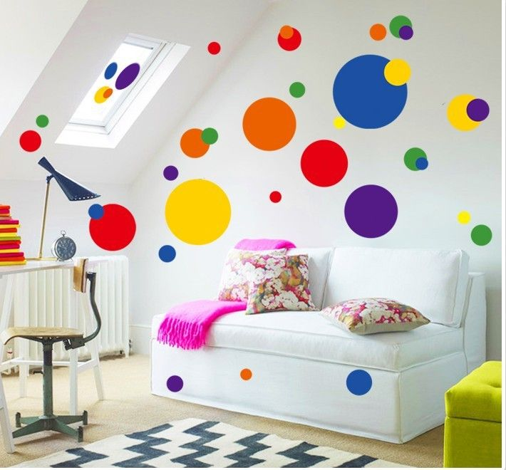 Cheap decorative vinyl wall stickers, Buy Quality stickers iron directly from China sticker Suppliers: NEW design colorful circle wall sticker bathroom kitchen 7158 decorative adesivo de parede removable pvc wall sticker home decor