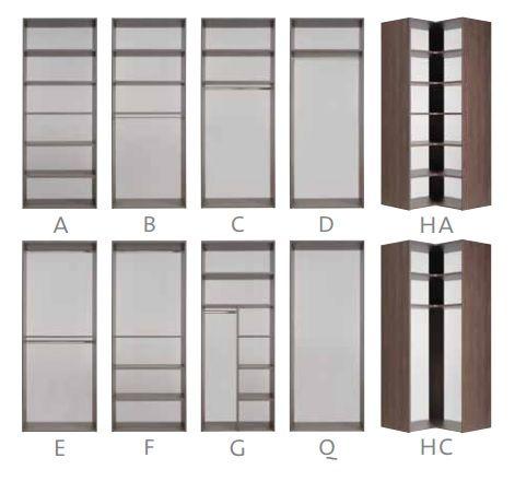 Slizing kast indeling / interieur :planken,roede,half leg,half hang,slaapkenner theo bot www.theobot.nl