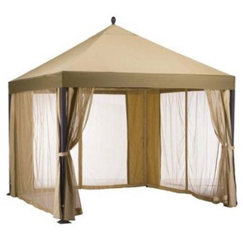 """Target South Bali Gazebo Replacement Canopy by Garden Winds. $149.99. Replacement cover for Target South Bali Gazebo. This replacement canopy is custom designed for the Yotrio Home South Bali Gazebo, model numbers 88-0434-0 and YJSG-260 (DCPI: 009-05-0110).. Color Note: The original canopy and netting was in two color tones.  Our canopy is in a single beige color tone!!!. This canopy measures 120""""L x 120""""W. The measurement from the center top point of the gazebo out to any ..."""