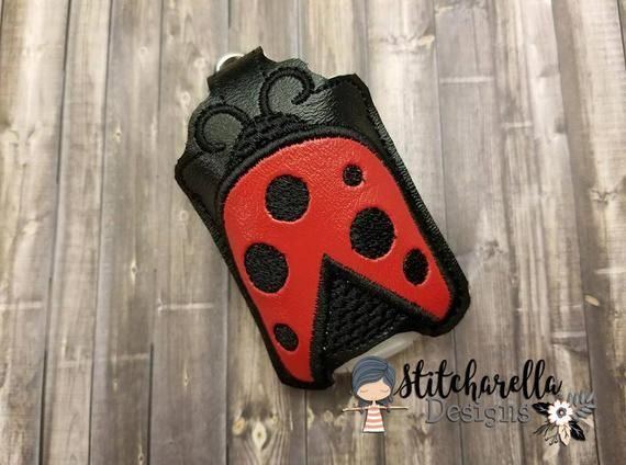 Ladybug Hand Sanitizer Holder Pocketbac Holder Keychain Key