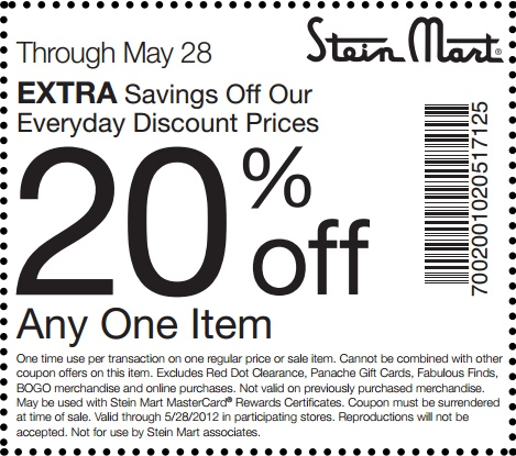 20% off one item at Stein Mart! #coupon