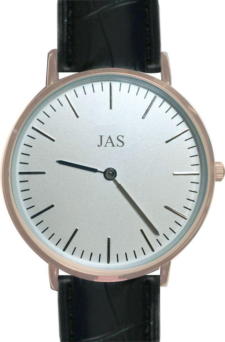 JAS Milan Watch - Midnight Black Band - Rose Gold