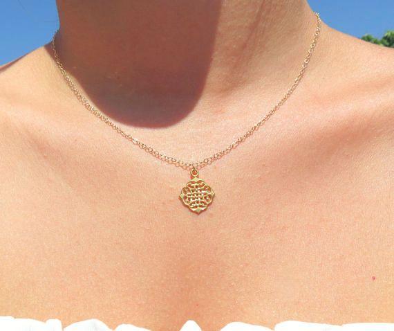 Mandala, Gold Mandala Necklace, Rhombus Filigree #jewelry #necklace @EtsyMktgTool http://etsy.me/2wGkQu9 #goldnecklace #mandalanecklace