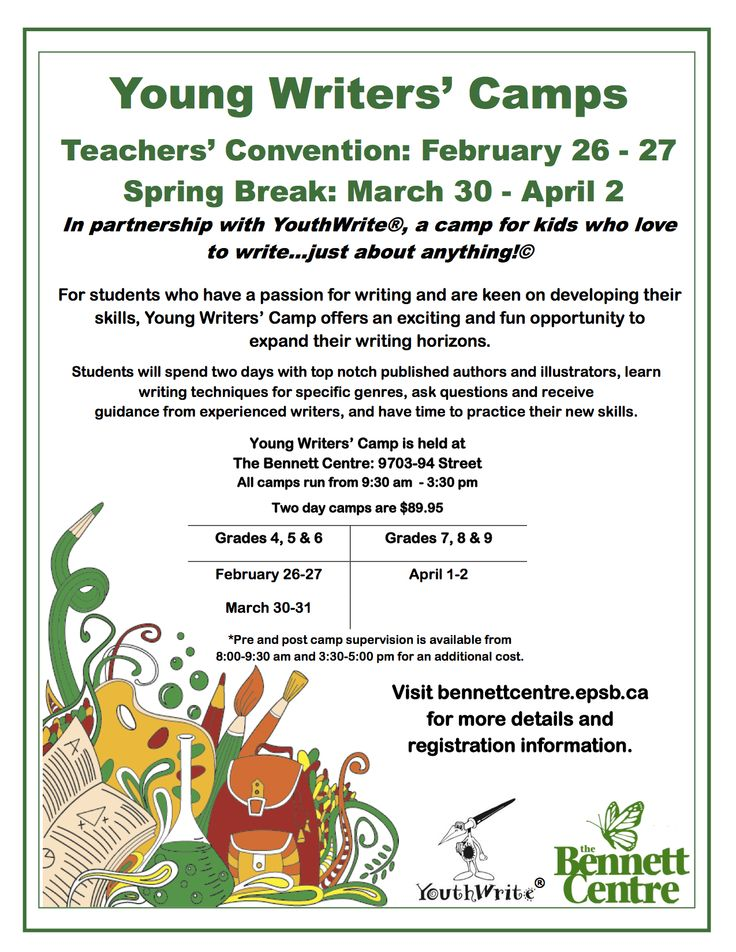 YouthWrite is partnering with EPSB's Bennett Centre for a spring break writing camp! For more information, visit http://www.youthwrite.com/young-writers-camp-2015