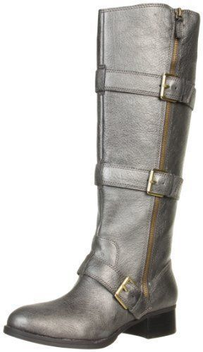 Boutique 9 Women'S Dacia Tall Zip Up Buckle Riding Boots, Dark Silver