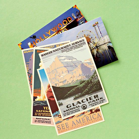 Instead of keeping a journal of your travels, send postcards to yourself describing each day of your vacation. Then make an album of the postcards when you return home.