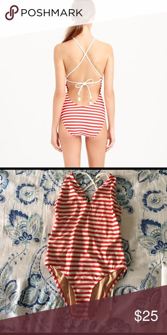 J crew swim suit J crew striped red and white braided v neck one piece swim suit.  Super adorable. Only worn once. J. Crew Swim One Pieces