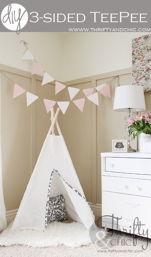 DIY 3 sided teepee. Only cost $7 to make! Made with pvc pipe and a sheet