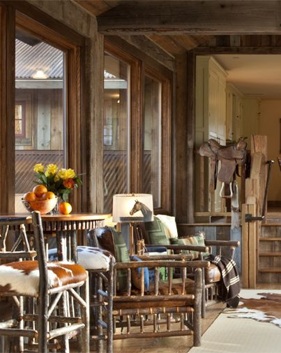 Enjoying some winter sunshine on the bridge in the Granite Lodge at The Ranch at Rock Creek, a Relais & Châteaux property in Southwest Montana.