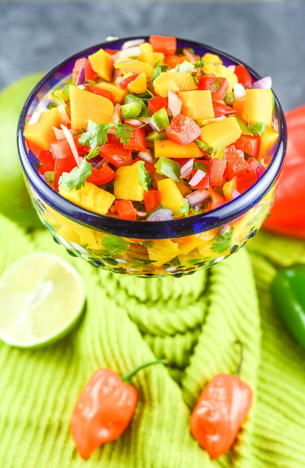 Sweet and Spicy Mango Habanero Salsa is gluten free and can be made in 15 minutes.