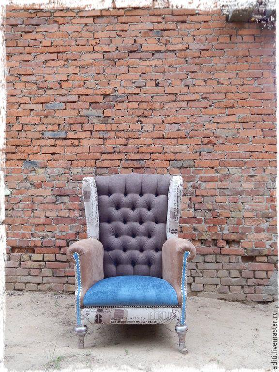 Купить кресло 46 - коричневый, авторское кресло, подарок, английский стиль, мебель пэчворк