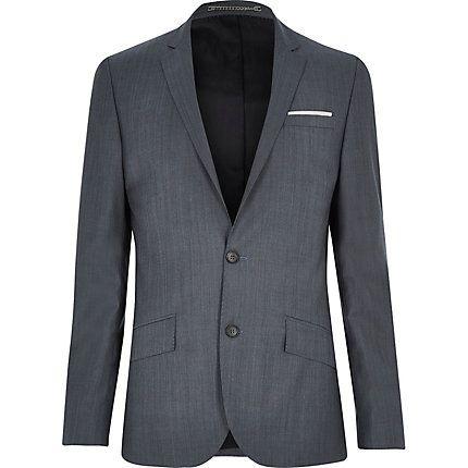 Grey wool-blend slim suit jacket $140.00