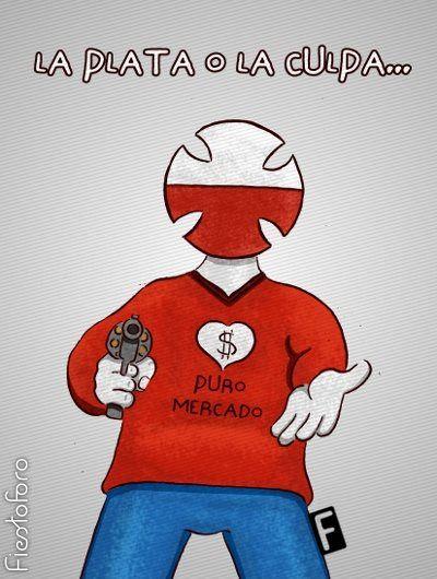 El logo antropomórfico de la Teletón enfrenta al observador con un arma en la mano y espeta: «La PLATA o la CULPA»