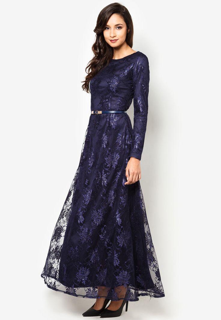 Buy Zalia Lace Shift Maxi Dress With Belt Zalora