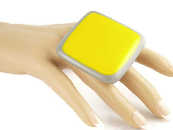 Yellow and Grey Glass Statement Ring  by SylviaTevlinDesigns on Etsy