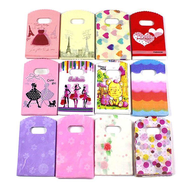 50pcs Lots Pretty Mixed Pattern Plastic Gift Bag Shopping Bag 15 X 9CM KT0012
