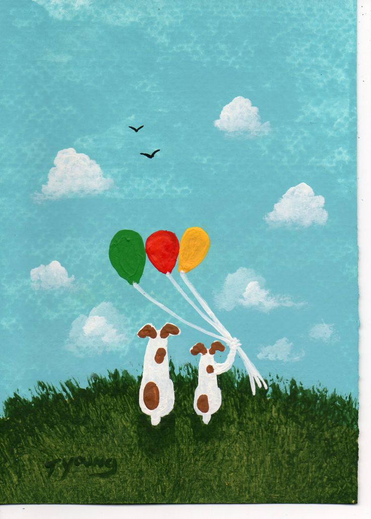 Jack Russell Terrier Dog Art PRINT Todd Young painting Balloons. $12.50, via Etsy.