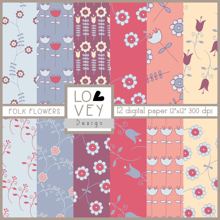 FOLK FLOWERS digital paper kit, hand drawn little folk flowers, blu, wine, red, blush and light yellow di LoveyDesignItaly su Etsy