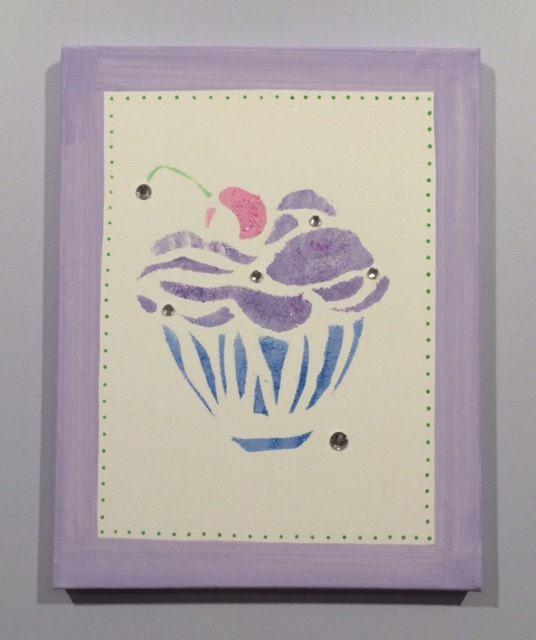 Cupcake Art, meisjes Wall Art meisjes kamer Decor, Cupcake kunst aan de muur, Kids Room Art, lavendel kamer, Girls Room Art, Cupcake, originele Canvas kunst