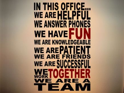 We Are A Team Wall Decal is great for a school's front office area or break room!