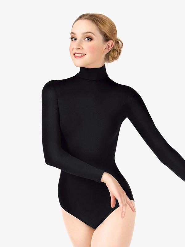 Women Adult Long Sleeves Built In Shelf Bra Gymnastics Ballet Dance Leotard Tops