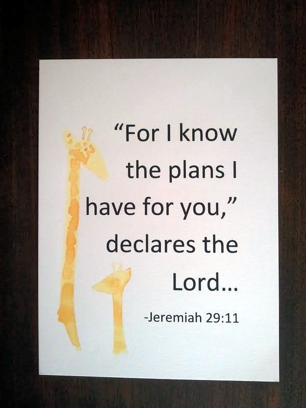 "Baby bible nursery wall art ""'For I know the plan i have for you,' declares the Lord."""