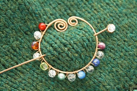 Handmade shawl pin with a rainbow of beads