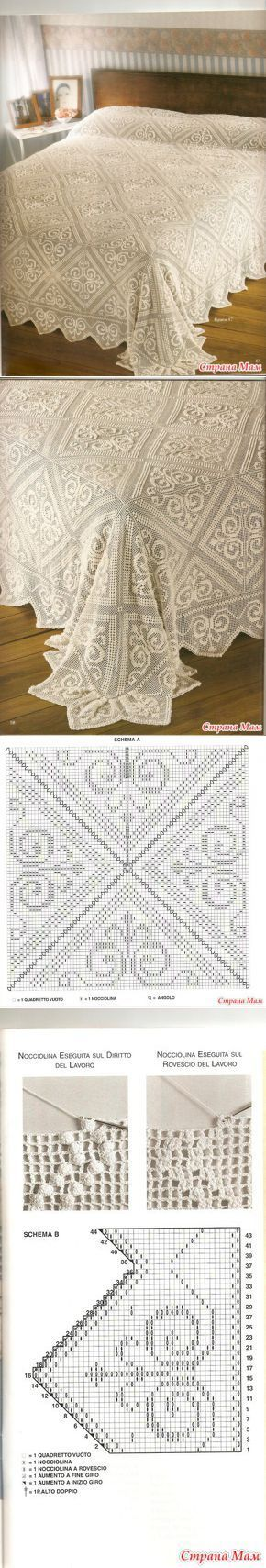 Follow the diagram below the bedspread to make the filet crochet pattern