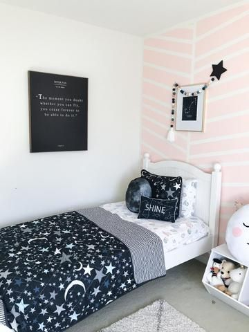 Galaxy Room For Girls. Toddler Bedroom Ideas. Space Themed Bedroom Decor.  Planet Decor