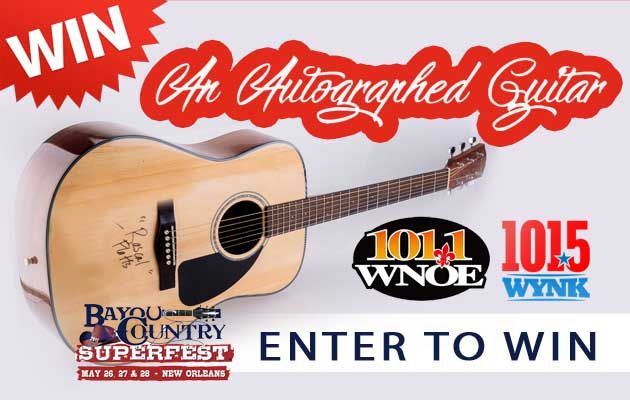 Win an Autographed Guitar Signed by One of the Bayou Country Superfest Stars!