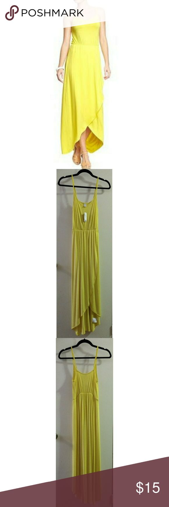 "Tulip Petal Effect  Cami Maxi Dress by Old Navy Condition: NWT // Size: XS// Color(s): Lemon Pucker (Yellow)// Pattern: Solid// ​Cut: Scoop V-Neck, Tulip Petal Front Skirt// Material: 95% Rayon, 5% Spandex// Lining: None// Extra Details: Adjustable Straps, Elasticized waistband// Length (I'm 5'4"")​: Ankle Length GAP Dresses Maxi"