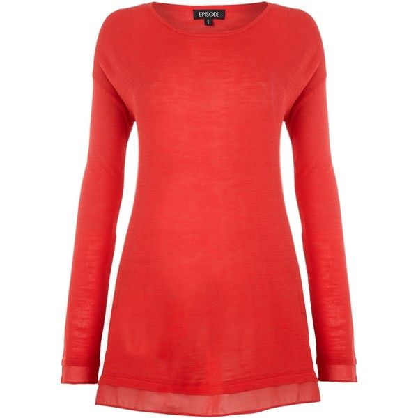 Episode Knit chiffon top with long sleeves