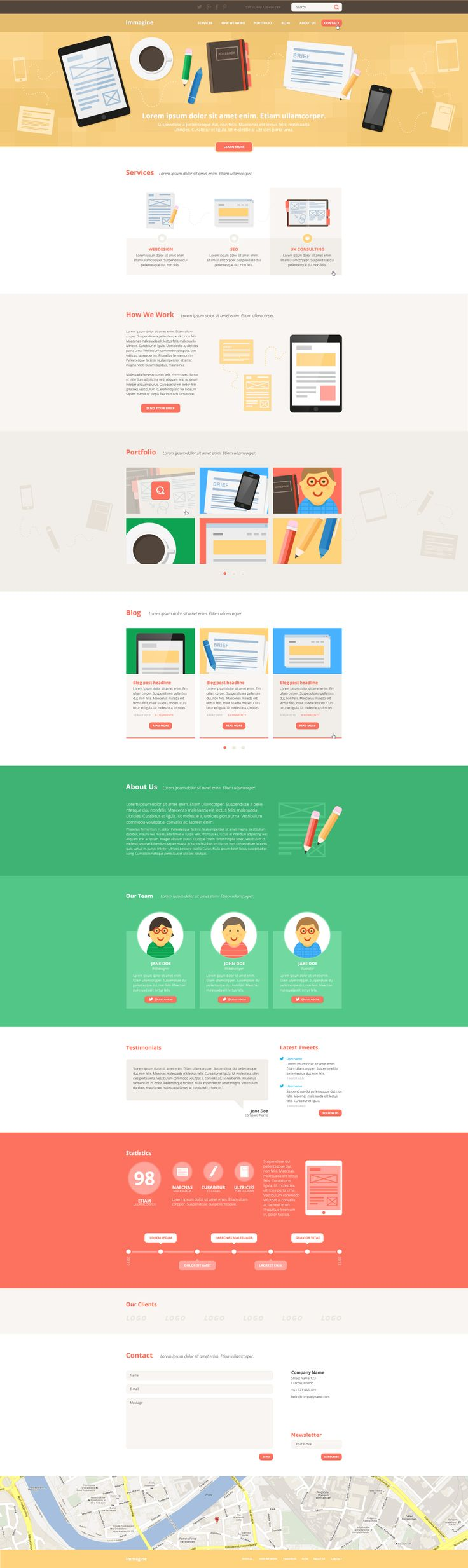 Flat webdesign. Illustration. Immagine - Illustrated One Page PSD Template.