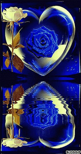 Blue Rose in Heart and Water