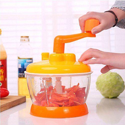 Food Chopper,ONEOENY Hand Powered Food Processor, Mixer, Spinner,Slicer,Dicer (orange1)