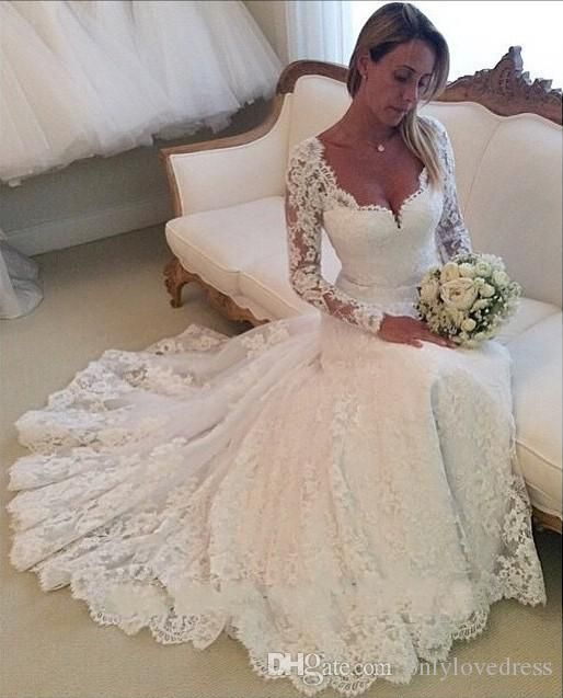 2016 wedding dress.Full lace wedding dress.Long Sleeves bridal gowns,Sweetheart wedding dress,Mermaid wedding dresses