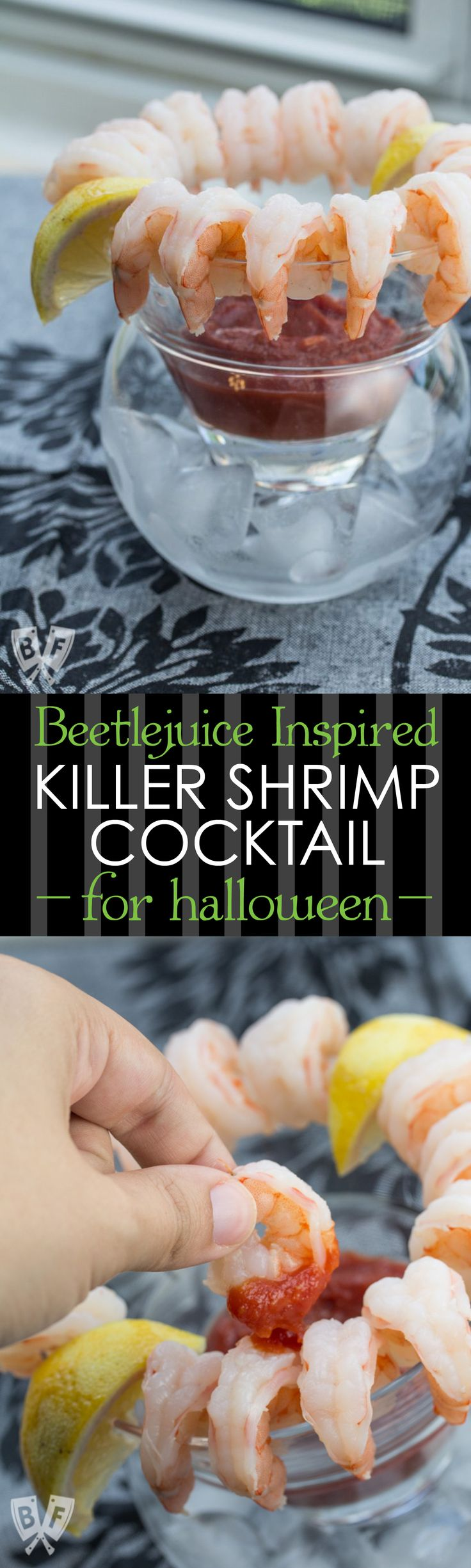 Killer Shrimp Cocktail: A flavorful shrimp boil and homemade cocktail sauce bring this Beetlejuice-inspired appetizer to life! Perfect for dinner parties and Halloween festivities!