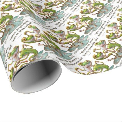 Gift Wrap Paper: Frogs Dancing in Rain With Quote - wrapping paper custom diy cyo personalize unique present gift idea
