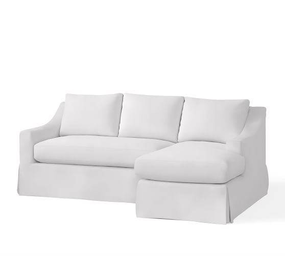 york slope arm slipcovered sofa with chaise sectional pottery barn