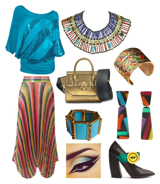 """""""Egyptian Inspired Outfit"""" by miwemporium92 on Polyvore featuring Alice + Olivia, Prada, Yves Saint Laurent, WithChic and Versace"""