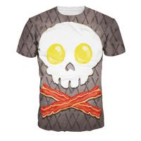 2016 3D PRINT American apparel Skeleton in the shape of an egg couple clothes tee shirts femme skinny punk spandex women tops