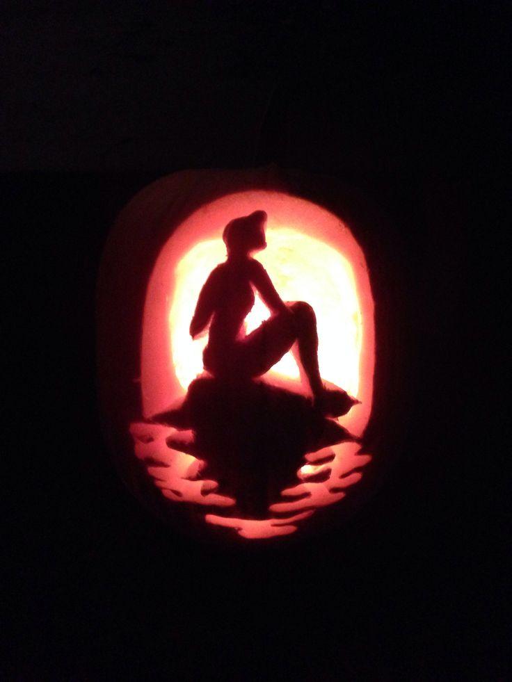 Ariel pumpkin carving