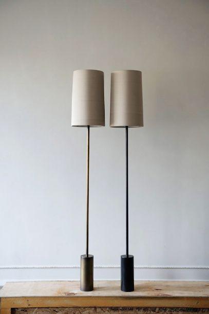 Bronzed brass & antique brass floor lights from Galerie Smith Furniture