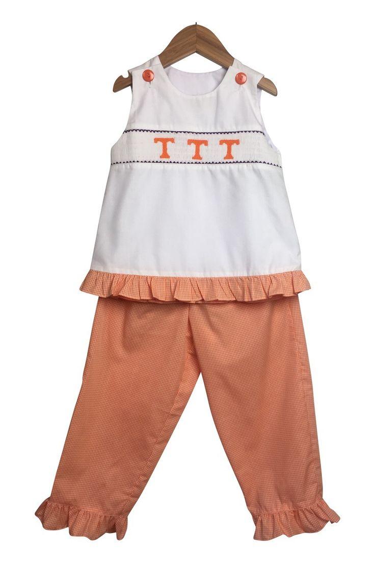 Smock It To Me - Liney Lu Tennessee Girls Orange Gingham Smocked Pant Set, $22.99 (http://www.smockittomeonline.com/liney-lu-tennessee-girls-orange-gingham-smocked-pant-set/)