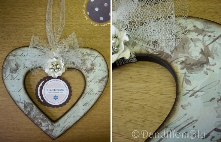 Papered wooden heart ~ Price: £9.00