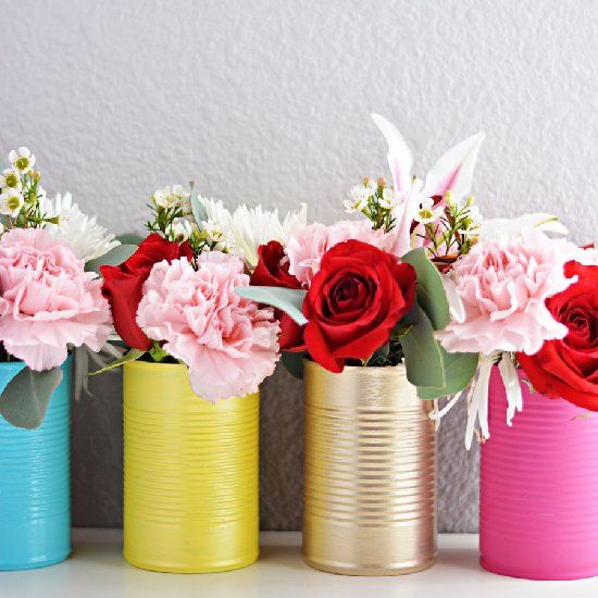 Save your empty cans and create a simple & bold vase for your fresh flowers!