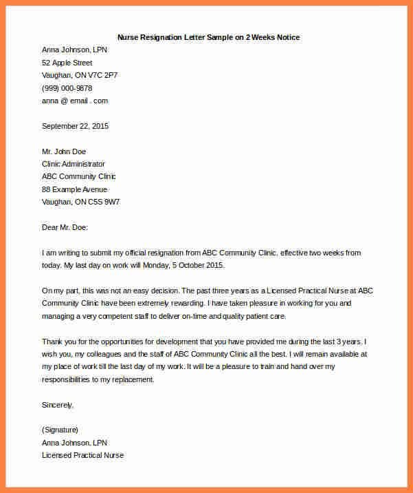8 Resignation Letter With 2 Weeks Notice Sles Notice Letter